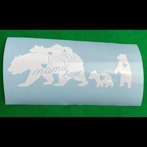 Mama Bear 4 Cubs White Vinyl Decal Sticker